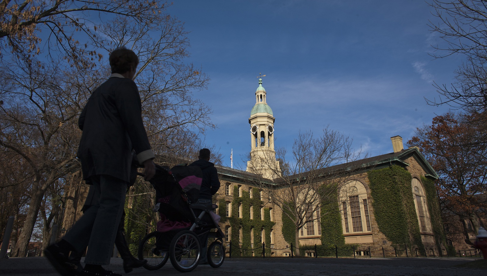 Students walk around the Princeton University campus in New Jersey