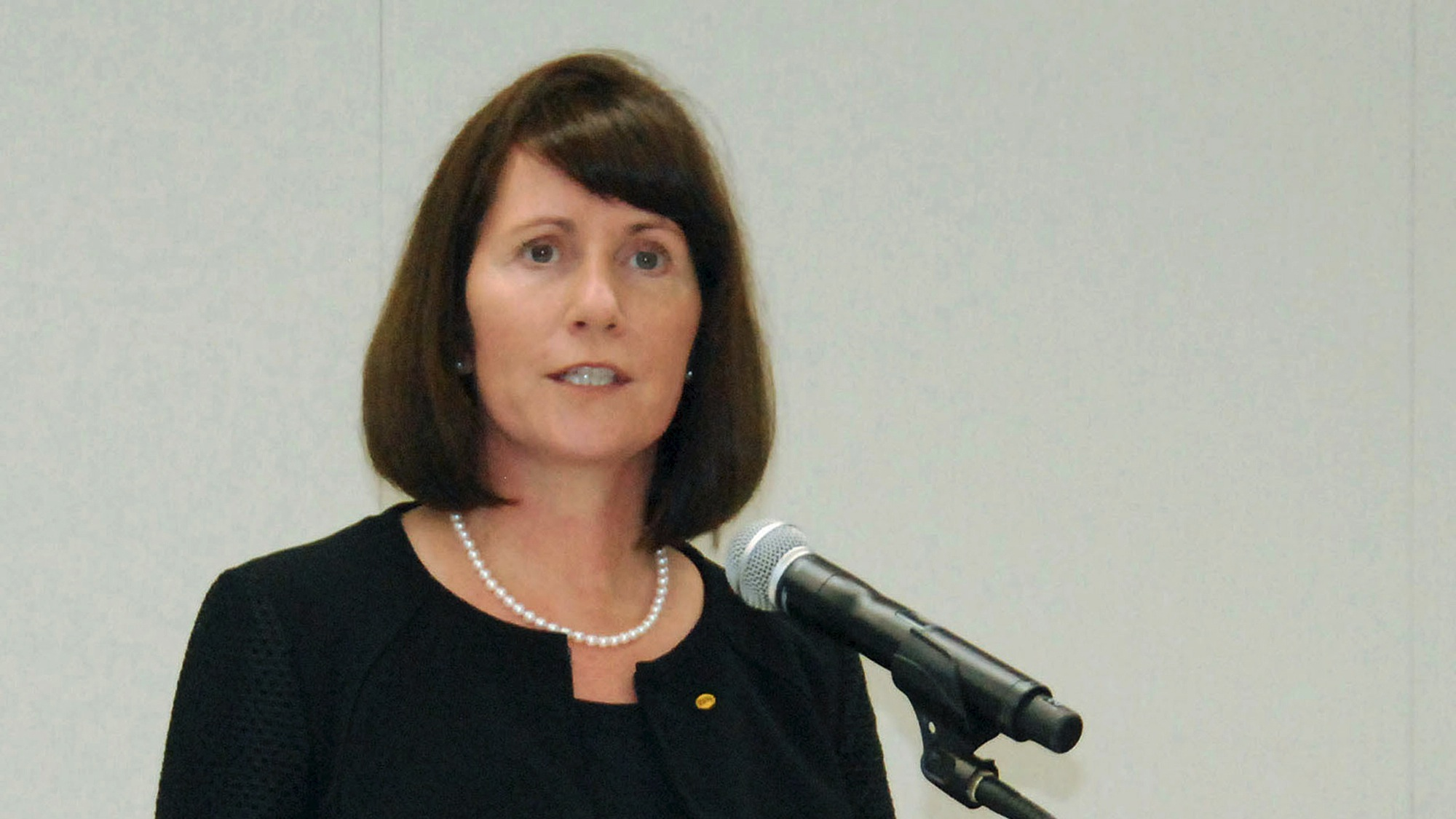 Toyota Motor Corp's Managing Officer and Chief Communications Officer Julie Hamp speaks to the media during a news conference in Nagoya, central Japan, in this file photo taken by Kyodo June 17, 2015 and released by Kyodo on June 18, 2015. Toyota Motor Corp said on Wednesday that Managing Officer Julie Hamp was stepping down, following her arrest last month on suspicion of illegally importing the painkiller oxycodone into Japan. Mandatory credit REUTERS/Kyodo/Files