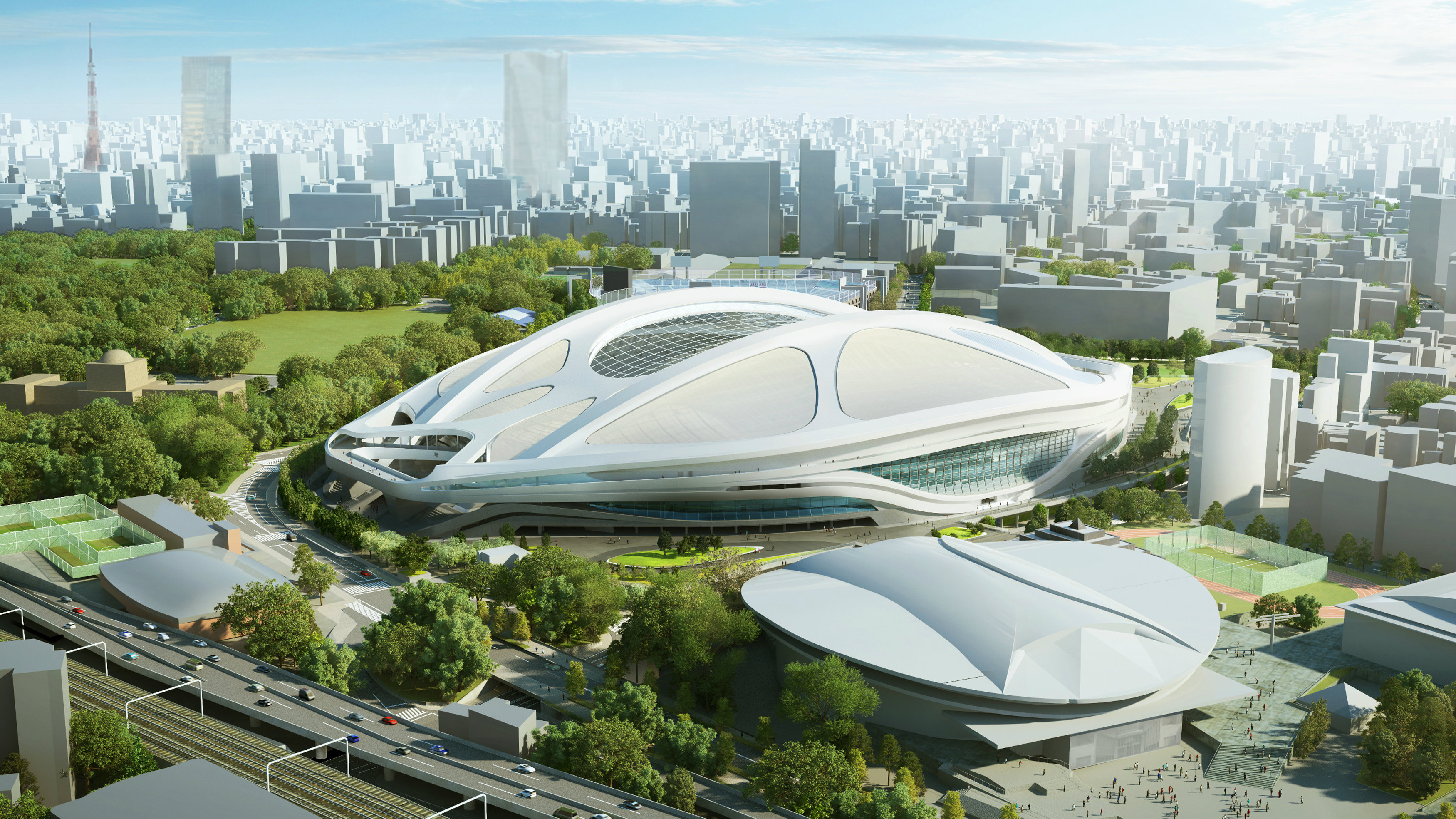 This artist's rendering released by Japan Sport Council in July 2015 shows the image of the Olympic stadium planned for the 2020 Tokyo Games, being used for the 2019 World Cup rugby match. The Olympic stadium plans will be redone because of spiraling costs, Japan Prime Minister Shinzo Abe said on Friday, July 17, 2015 in a major reversal. As a result, the stadium won't be completed in time for the 2019 Rugby World Cup, as scheduled, he added. (Japan Sport Council via AP)