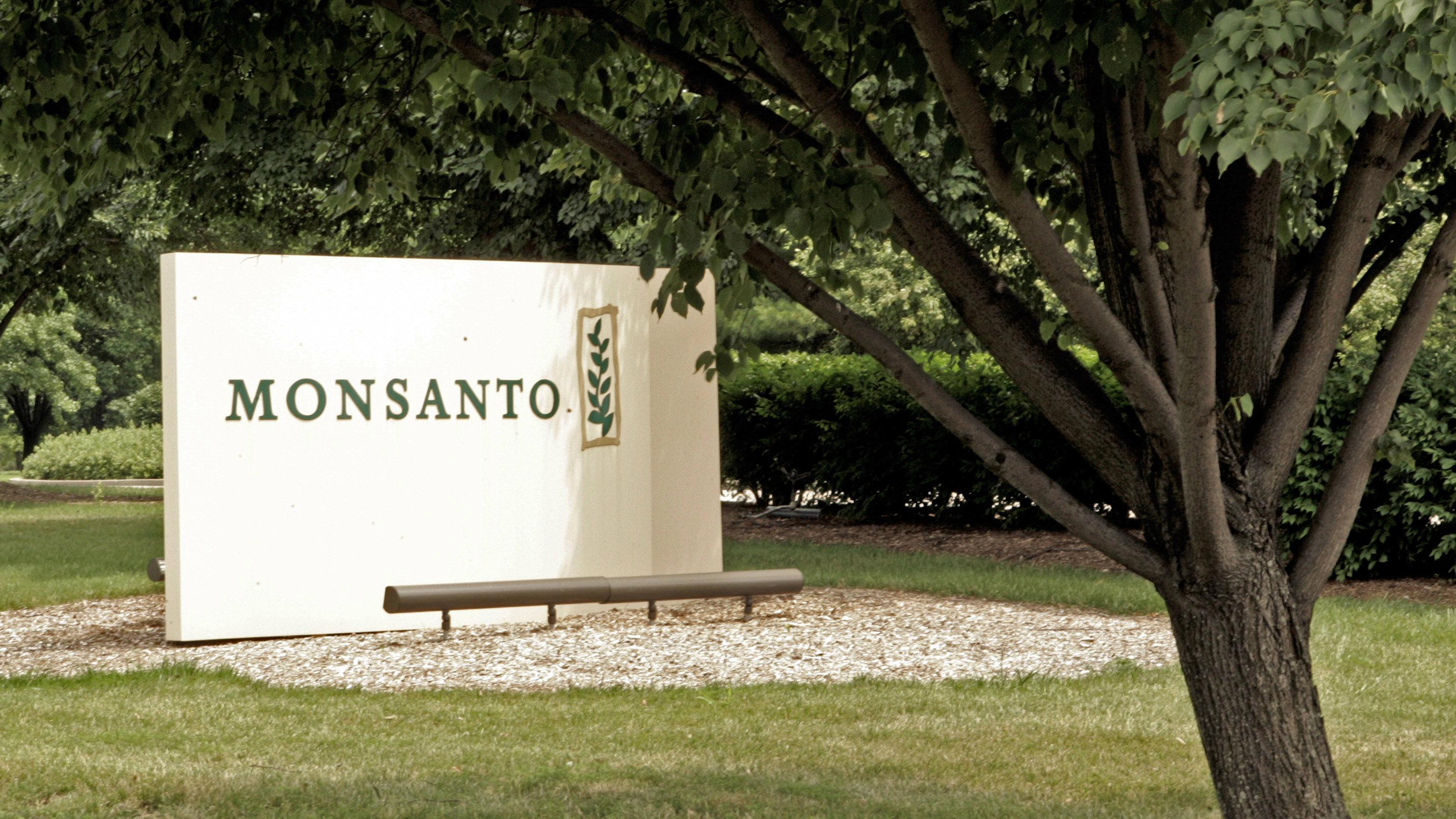 A sign outside Monsanto headquarters
