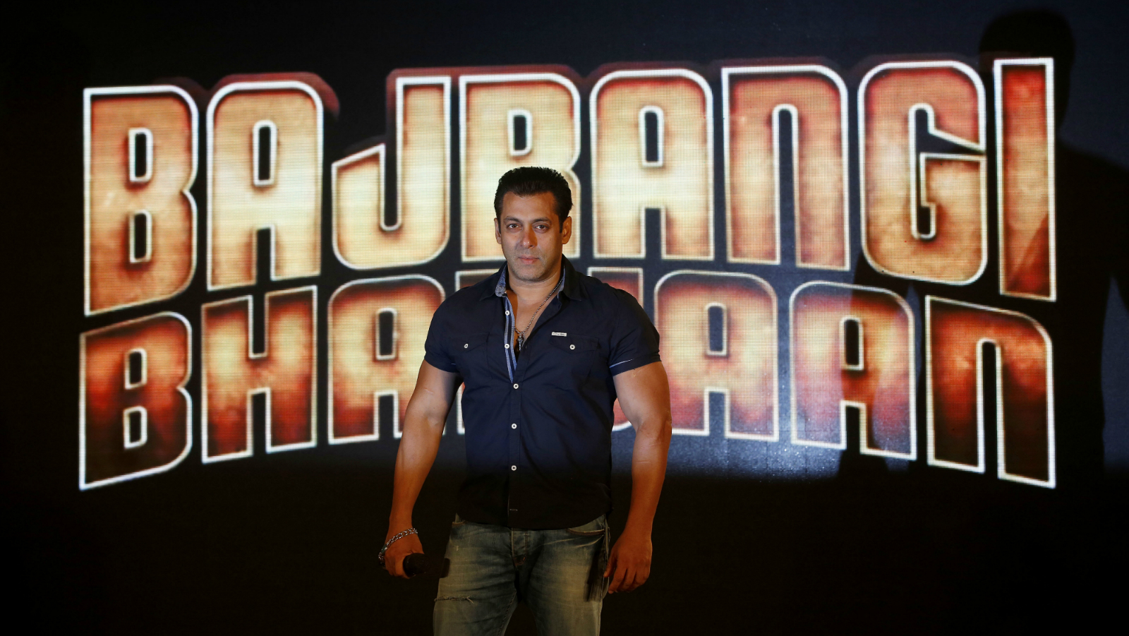 Bollywood actor Salman Khan poses for media during the launch of songs for his upcoming movie, Bajrangi Bhaijaan, in Mumbai, India, Friday, July 3, 2015. (AP Photo/Rajanish Kakade)