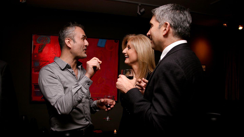 Nick Denton, Arianna Huffington and Joe Evangelisti at a 2011 party.