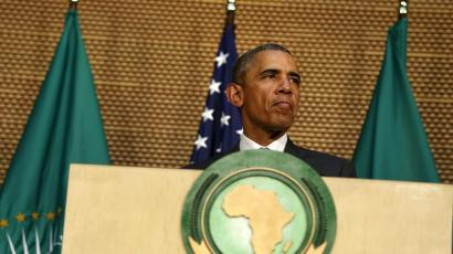 Obama speaks at the African Union in Addis Ababa, Ethiopia.