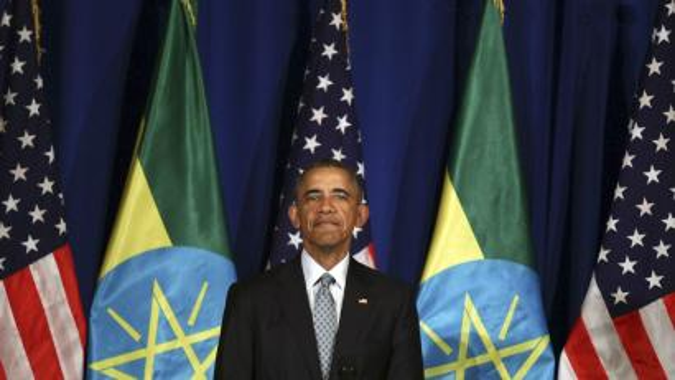 US president Barack Obama speaks at the National Palace in Addis Ababa, Ethiopia.