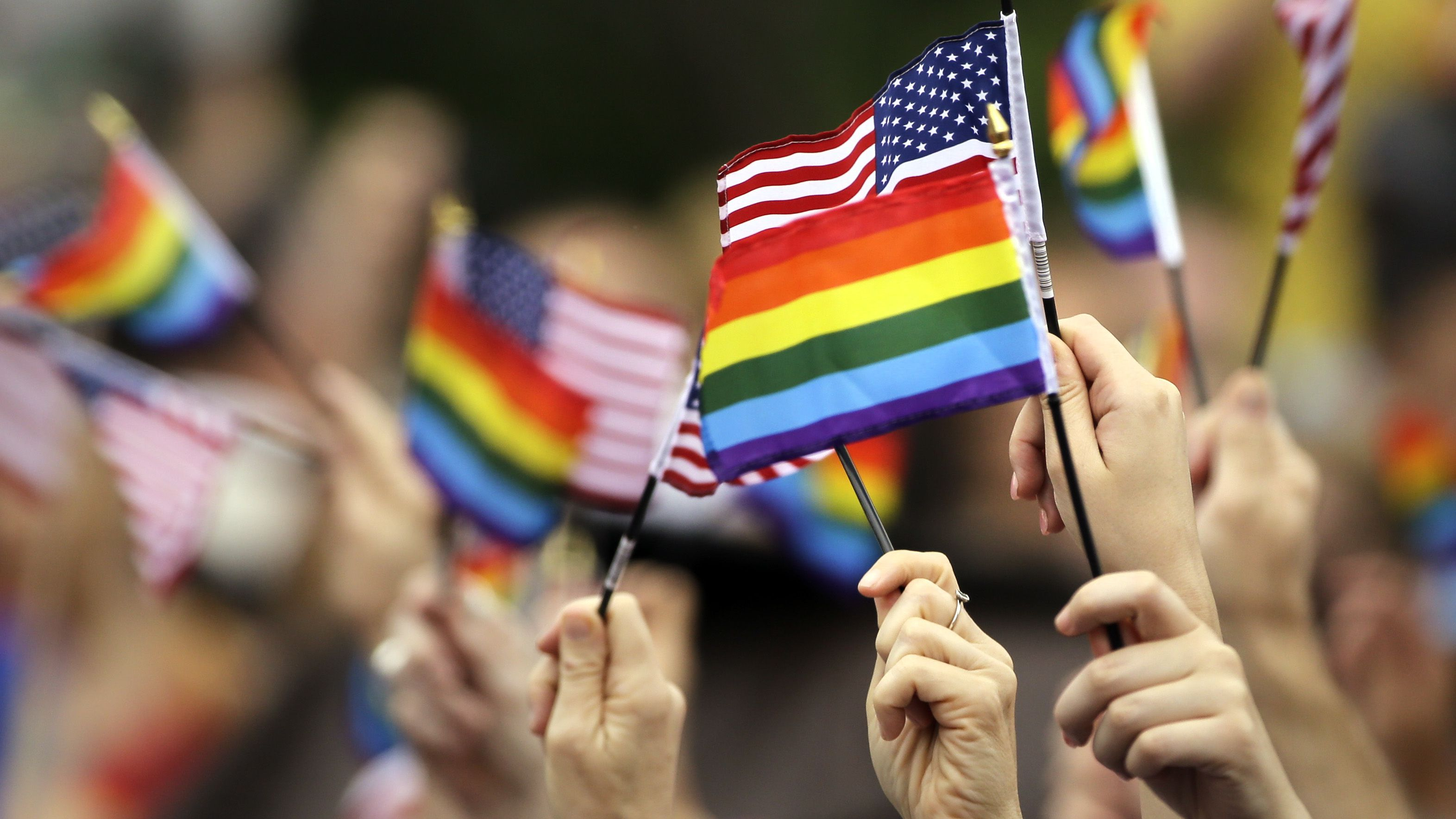 Flags are waved during the National LGBT 50th Anniversary Ceremony, Saturday, July 4, 2015, in front of Independence Hall in Philadelphia. The event marks the 50th anniversary of a protest outside Independence Hall that would be a milestone in the fight for gay rights. (AP Photo/Matt Rourke)