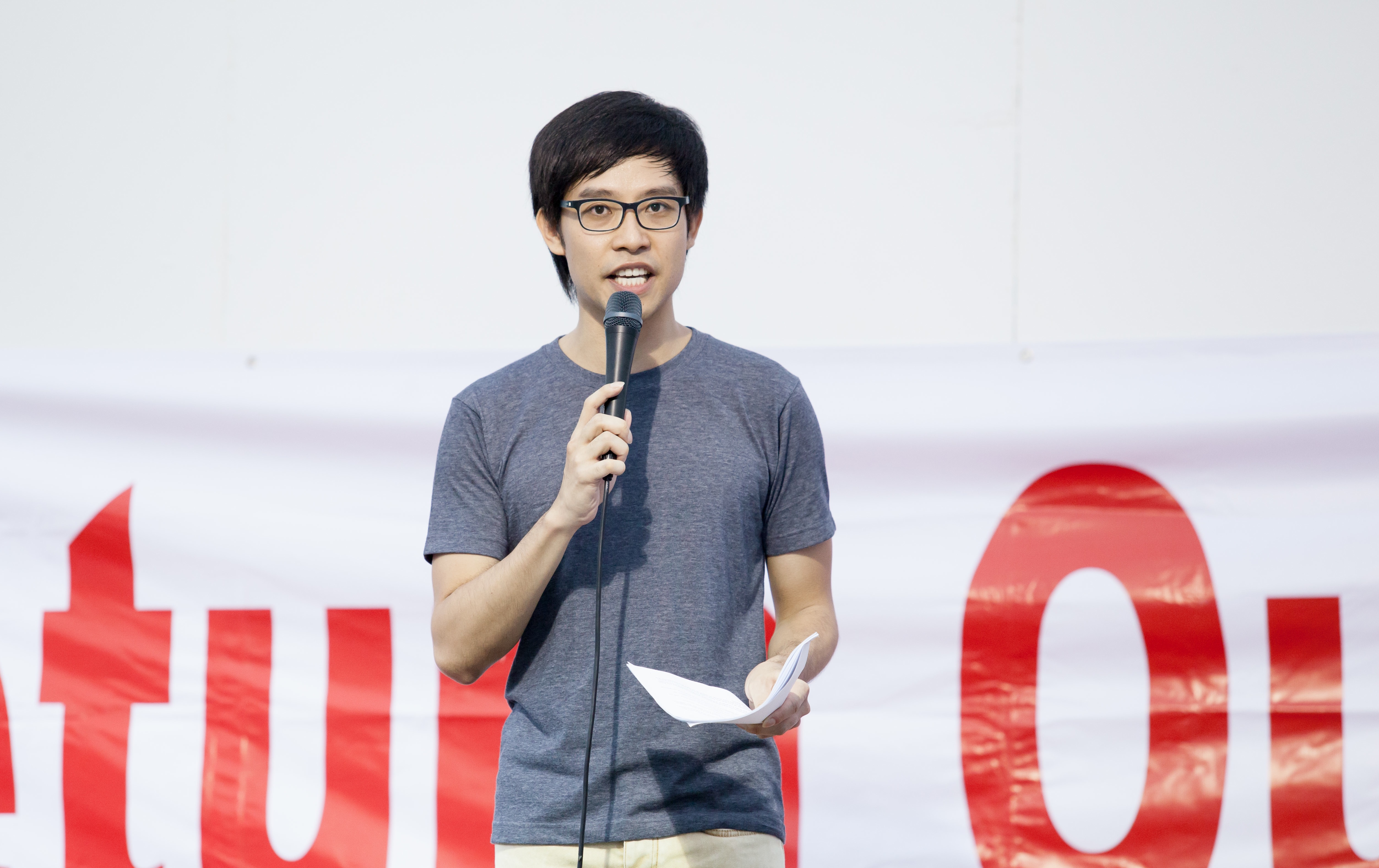 Singapore blogger Roy Ngerng at a rally in 2014.