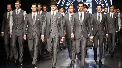 Models present creations as part of the Ermenegildo Zegna Fall/Winter 2010/11 Men's collection during Milan Fashion Week January 16, 2010.