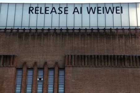 "A sign along the top of the Tate Modern art gallery reads ""'Release Ai Weiwei"" in London April 8, 2011"