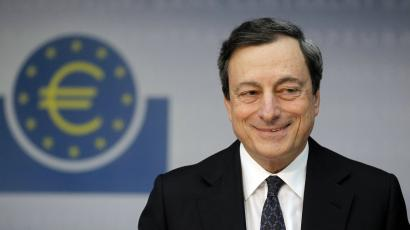 The European Central Bank (ECB) President Mario Draghi speaks during the monthly news conference in Frankfurt.