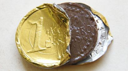 A one euro coin made of chocolate
