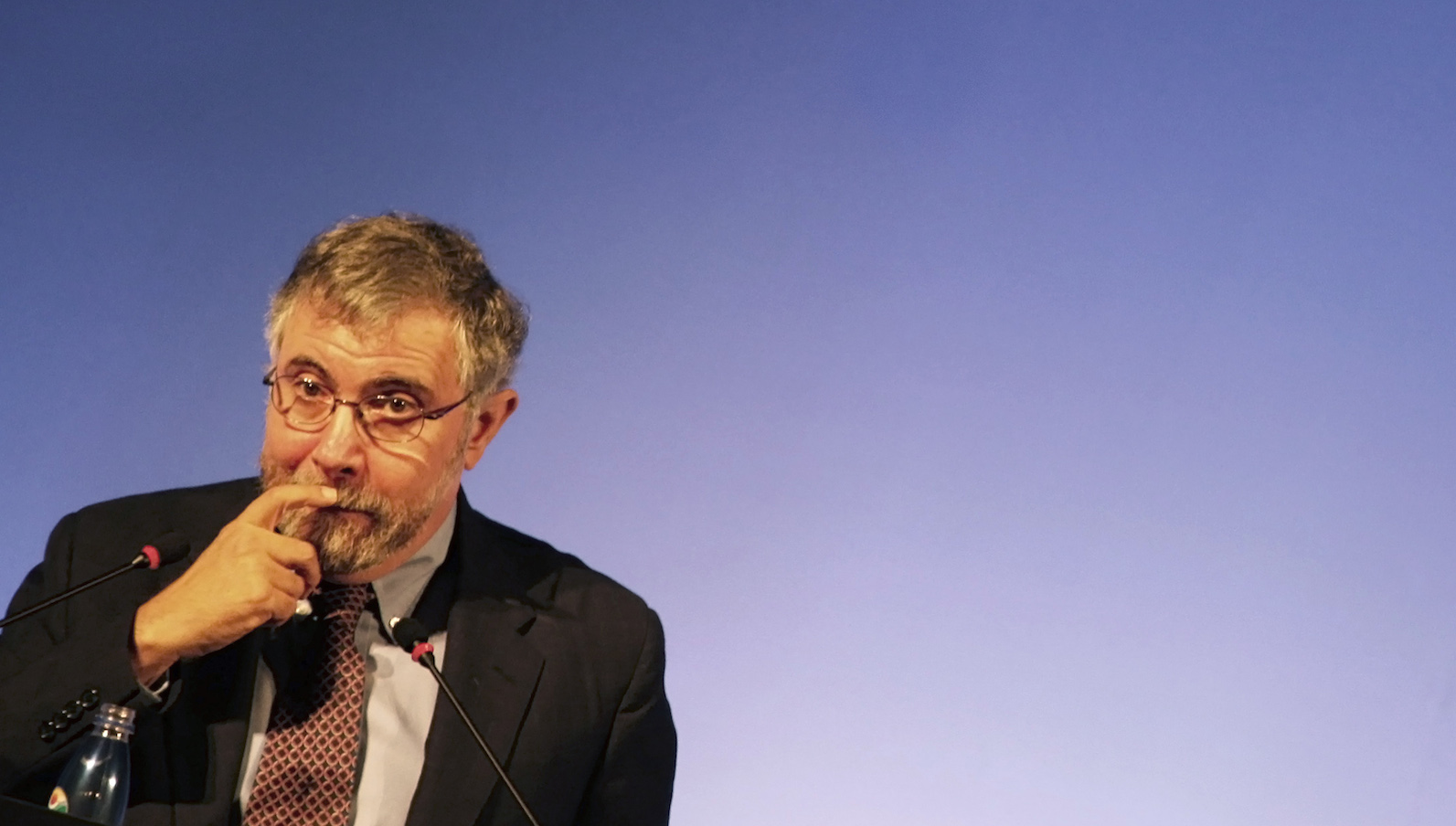Nobel Prize winning economist Krugman talks to the audience during a conference about the current global crisis, in Sao Paulo