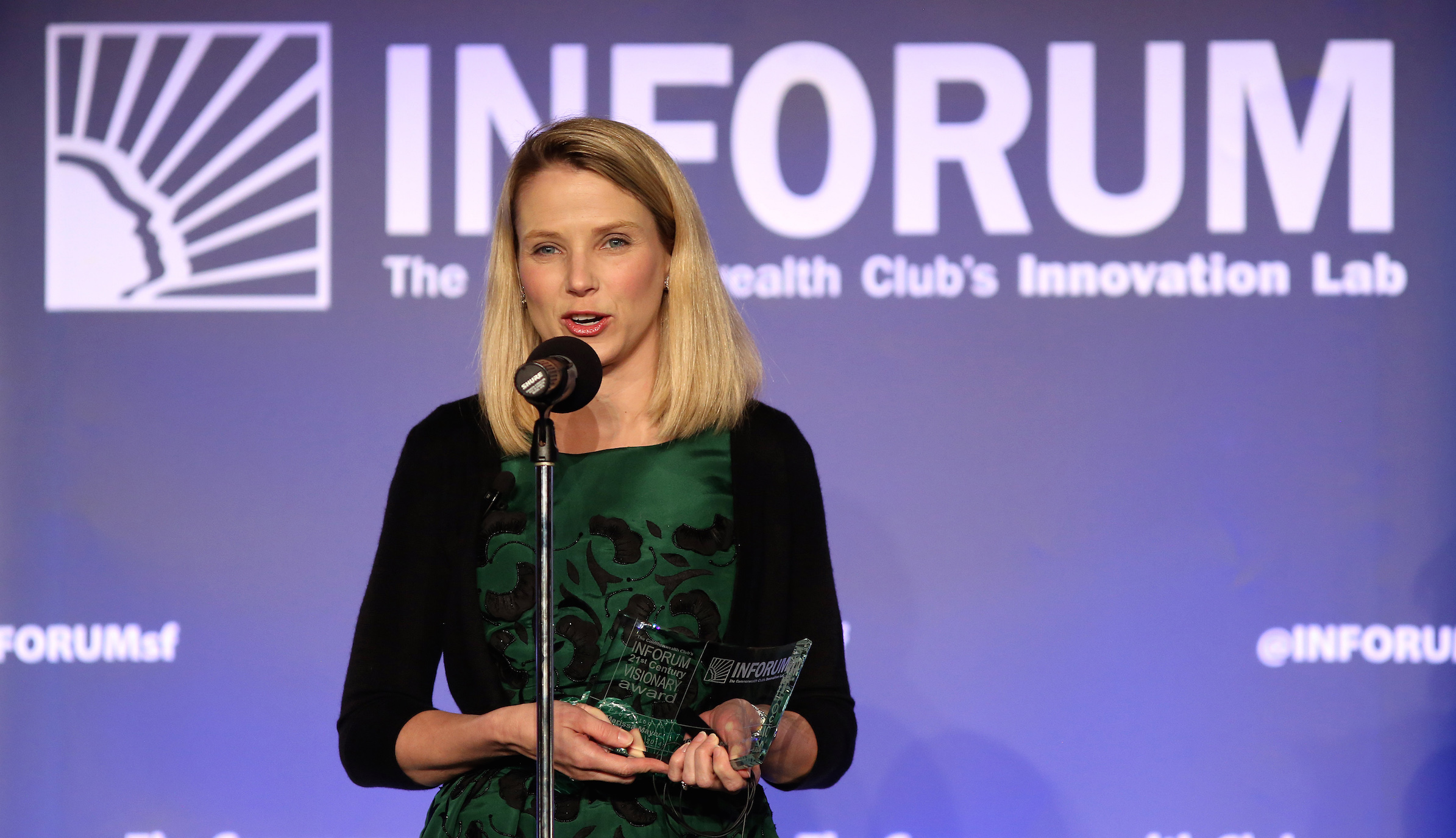 Yahoo CEO Marissa Mayer speaks at a Salesforce event at the Commonwealth Club in San Francisco, California October 30, 2014. REUTERS/Robert Galbraith  (UNITED STATES - Tags: BUSINESS) - RTR4C9L9