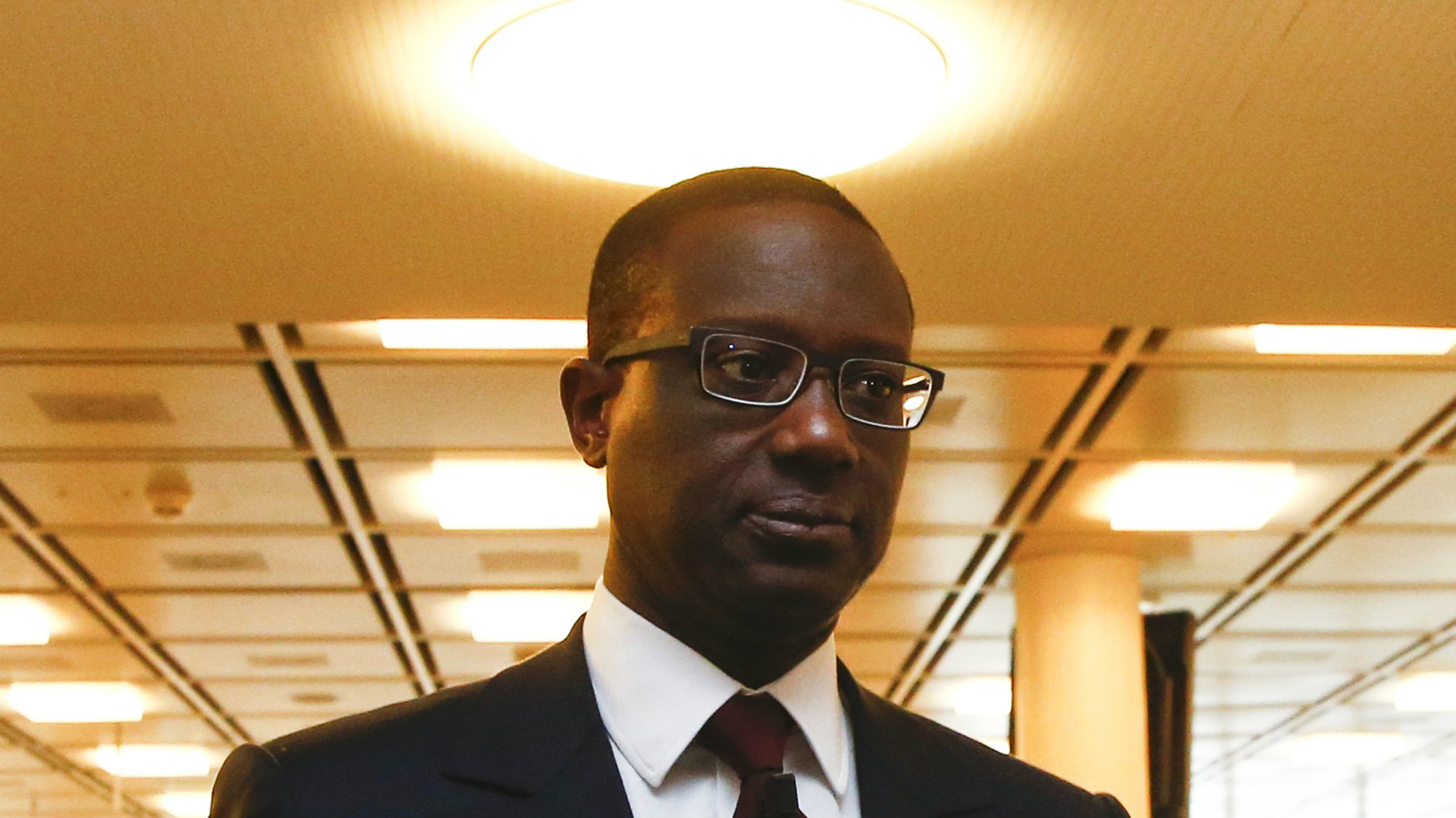 Tidjane Thiam arrives for a Credit Suisse news conference in Zurich.