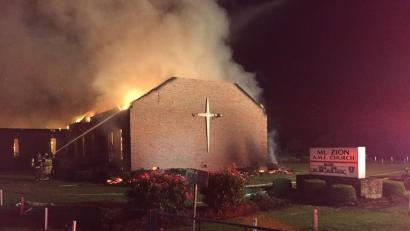 Mt. Zion AME Church in Greeleyville, South Carolina burns on June 30, 2015.