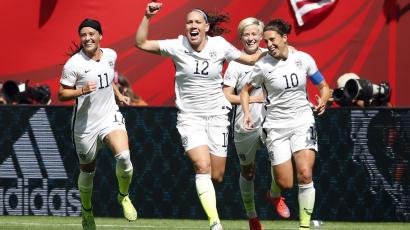 Jul 5, 2015; Vancouver, British Columbia, CAN; United States midfielder Carli Lloyd (10) celebrates with teammates after scoring against Japan during the first half of the final of the FIFA 2015 Women's World Cup at BC Place Stadium.