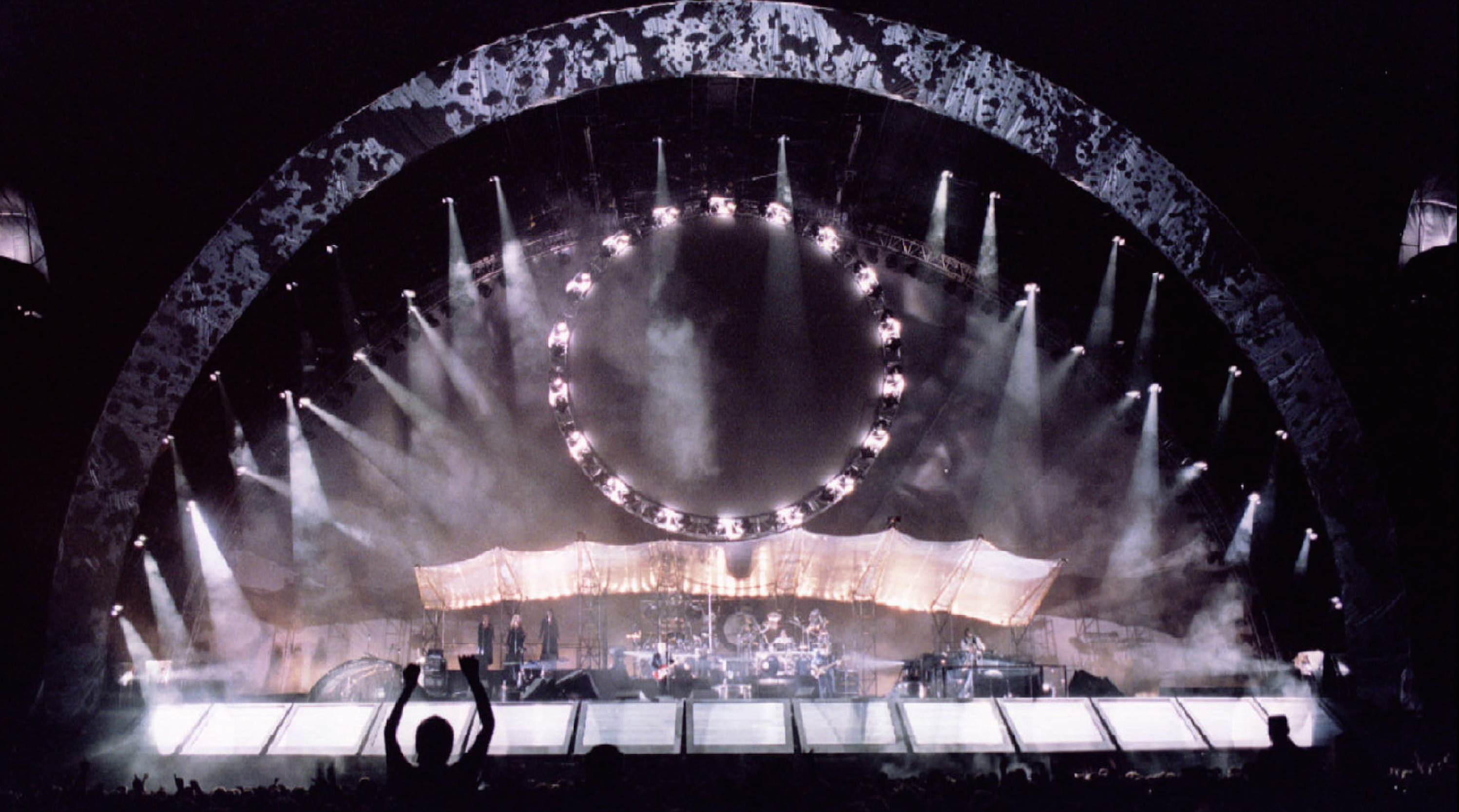 The stage of British pop band Pink Floyd is seen during their concert August 19. Pink Floyd performe..