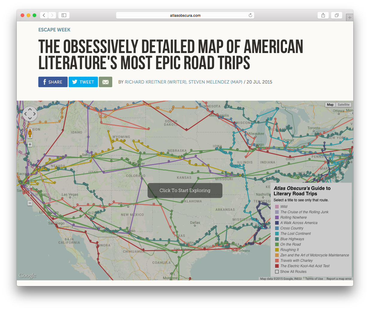 Atlas Obscura road trip map
