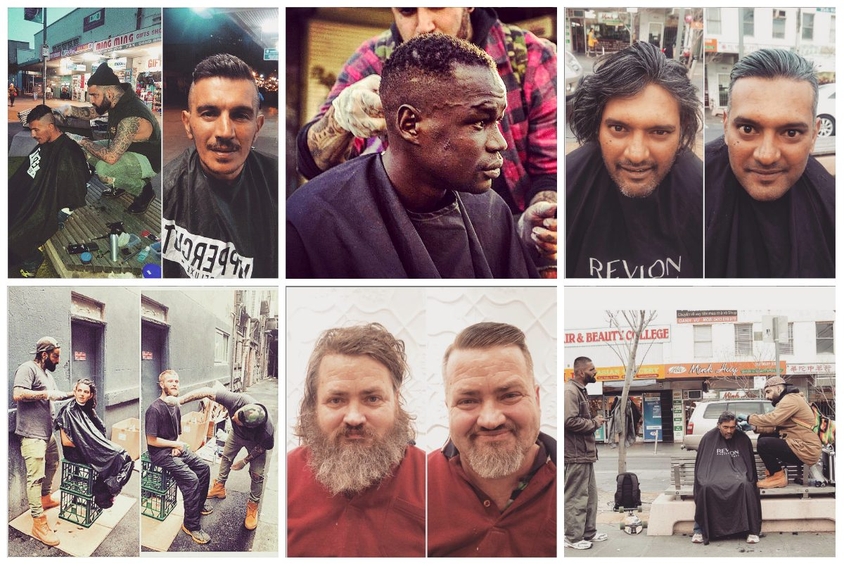 Street barber Nasir Sobhani offers free haircuts to homeless