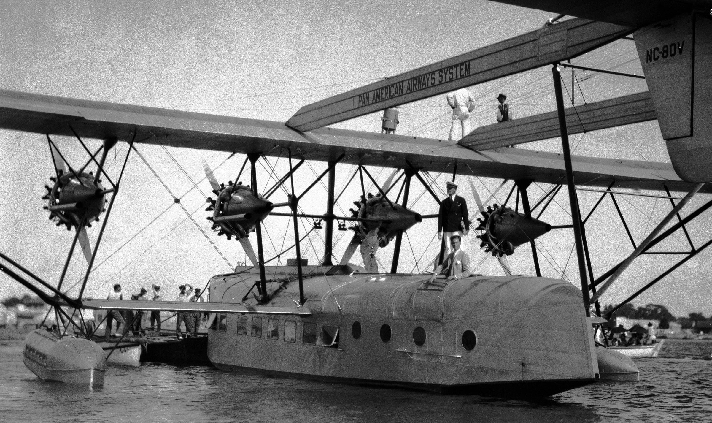 """""""The American Clipper,"""" a four-motored, 45-passenger Sikorsky amphibious plane, is seen as it rests on Cienfuegos Bay, Cuba, Nov. 20, 1931 after its maiden voyage from Miami to Cuba. The Clipper was piloted by Charles Lindbergh."""