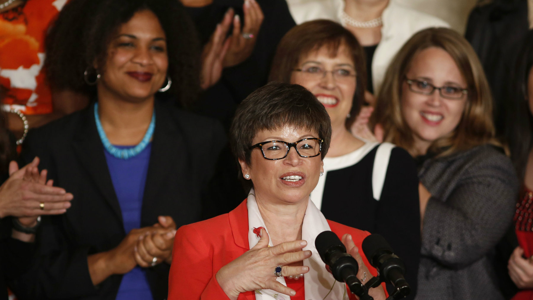 White House senior advisor Valerie Jarrett gives remarks on the 50th anniversary of the Equal Pay Act in the East Room at the White House in Washington, June 10, 2013. REUTERS/Larry Downing (UNITED STATES - Tags: POLITICS BUSINESS EMPLOYMENT)