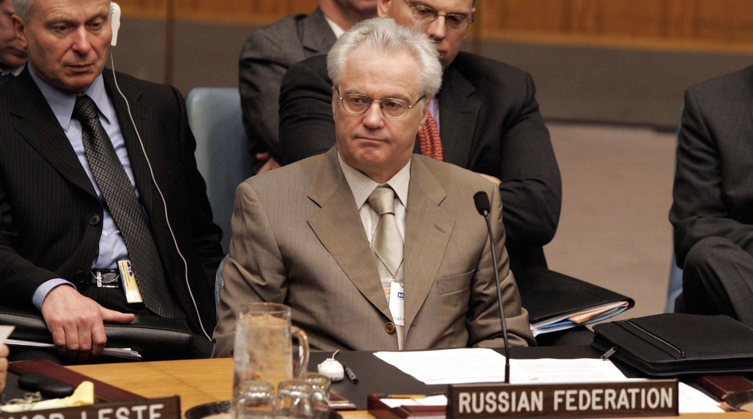 Ambassador Vitaly Churkin in UN meeting