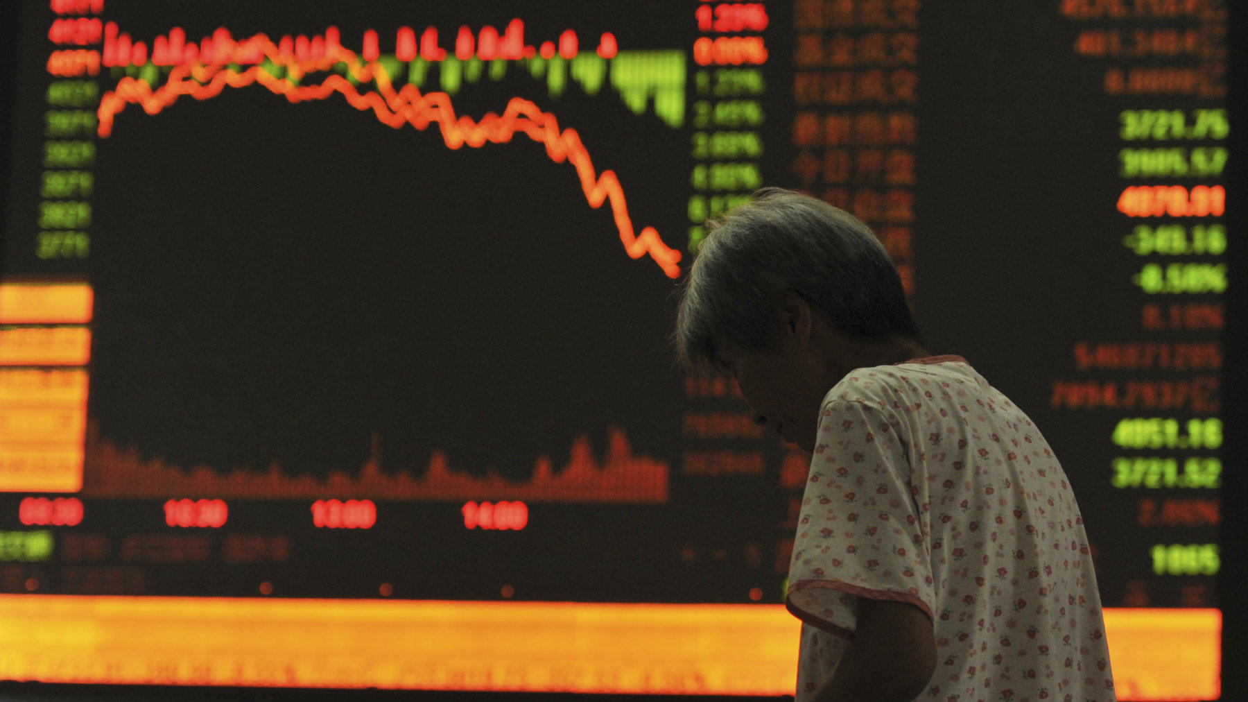 An investor stands in front of an electronic board showing stock information at a brokerage in Fuyang, Anhui province.