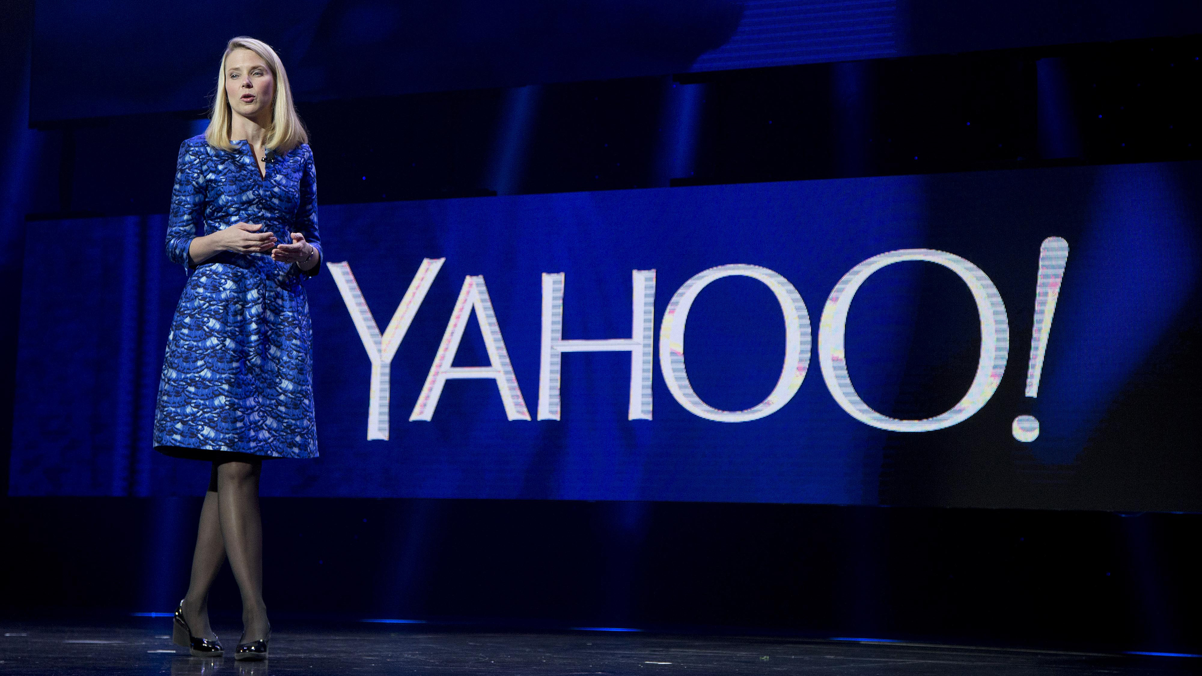 FILE - In this Jan. 7, 2014 file photo, Yahoo President and CEO Marissa Mayer speaks during the International Consumer Electronics Show in Las Vegas. Yahoo Inc. on Tuesday, April 21, 2015, reported first-quarter net income of $21.2 million. On a per-share basis, the Sunnyvale, California-based company said it had net income of 2 cents.(AP Photo/Julie Jacobson, File)