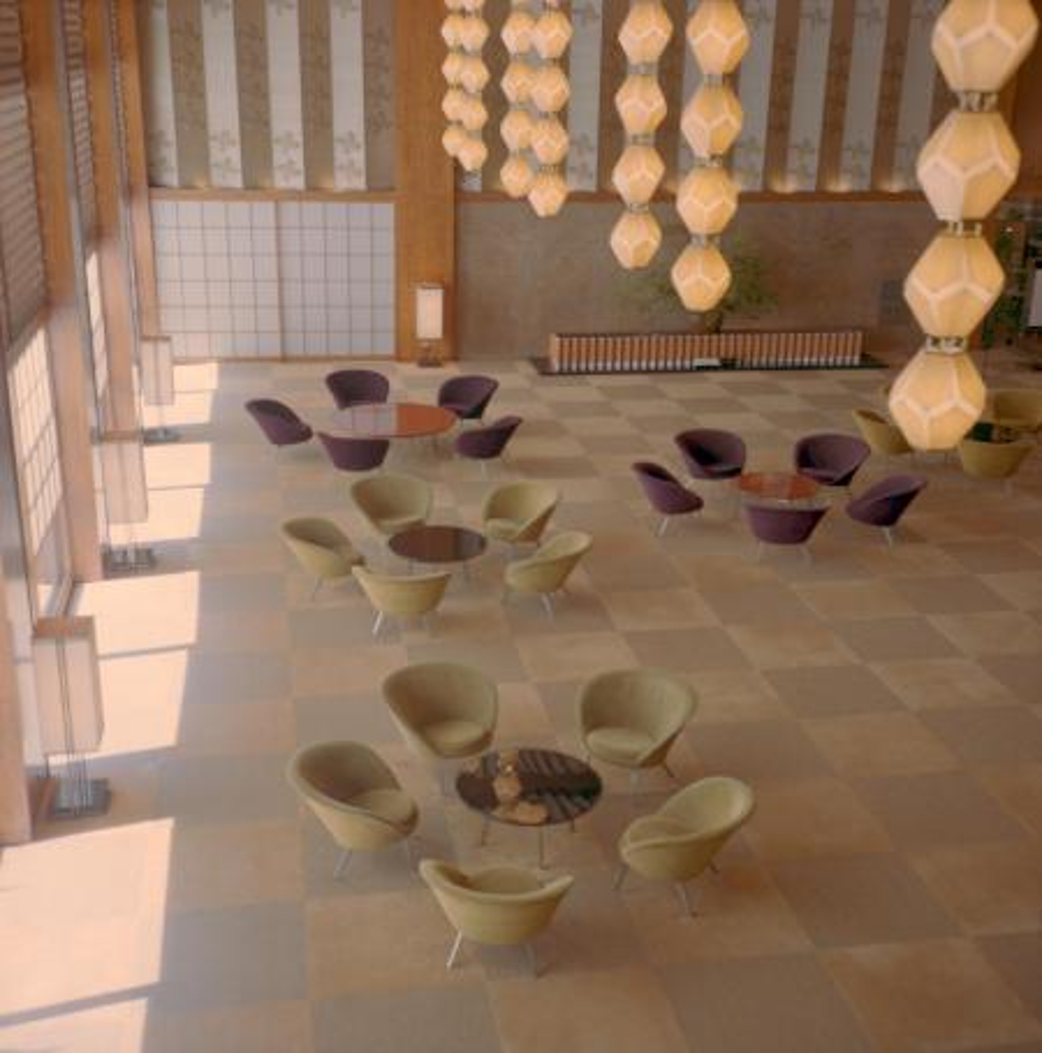The lobby of the Hotel Okura in Tokyo