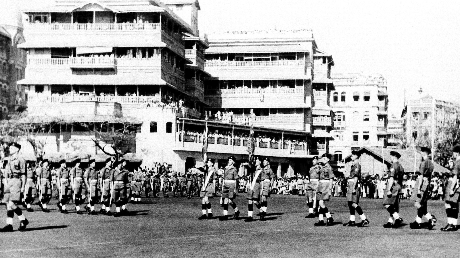 Troops of the Somerset light infantry, last British troops to leave India, parade in Bombay, on Feb. 28, 1948, prior to their departure for the United Kingdom aboard the empress of Australia. In center are the regimental color bearers. In left center background is part of the guard of honor provided by units of the Indian Army.