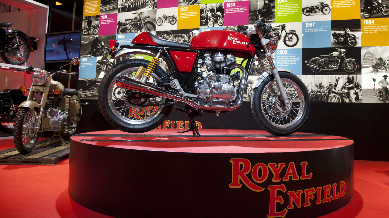 The Royal Enfield Continental GT 535 EFI Cafe Racer concept motorbike is seen on display during the Brussels Motor Show at the Expo Center in Brussels on Thursday, Jan. 10, 2013. The Brussels Motor Show is a yearly event in which major automobile manufacturers can show off their new models.