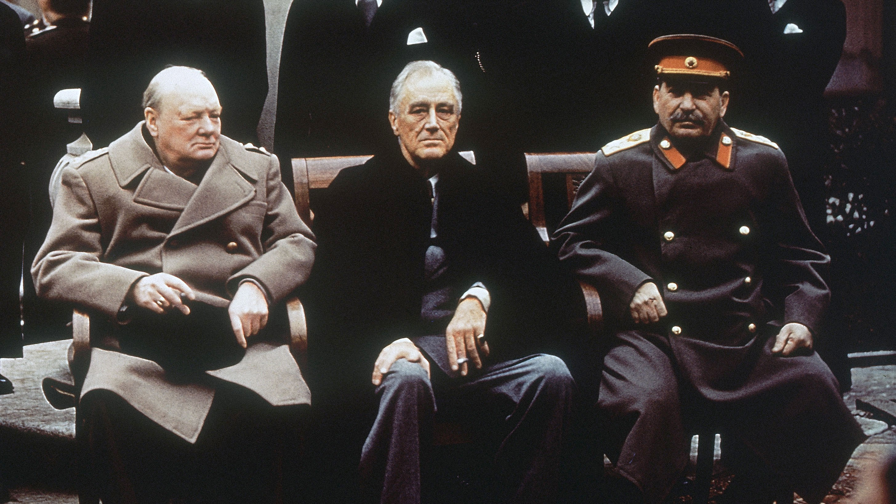 This is a Feb. 4, 1945, file photo of from left, British Prime Minister Winston Churchill, U.S. President Franklin Roosevelt and Soviet Premier Josef Stalin as they sit on the patio of Livadia Palace, Yalta, Crimea. Churchill Britain's famous World War II prime minister died fifty years ago on January 24 1965.