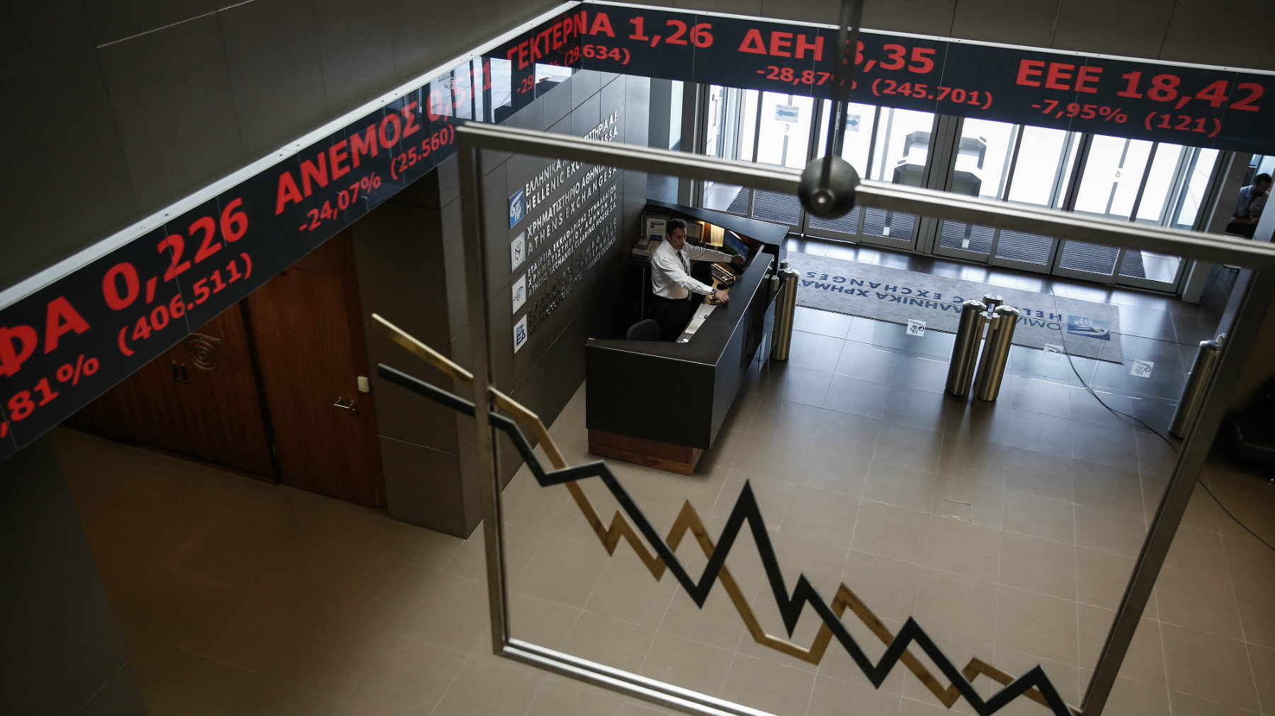 An employee of the Athens' Stock Exchange stands behind a reception desk in Athens, Greece, on Monday, Aug. 3, 2015. Greece's main stock index plunged over 22 percent as it reopened Monday after a five-week closure, giving investors their first opportunity since June to react to the country's latest economic crisis. (AP Photo/Yorgos Karahalis)