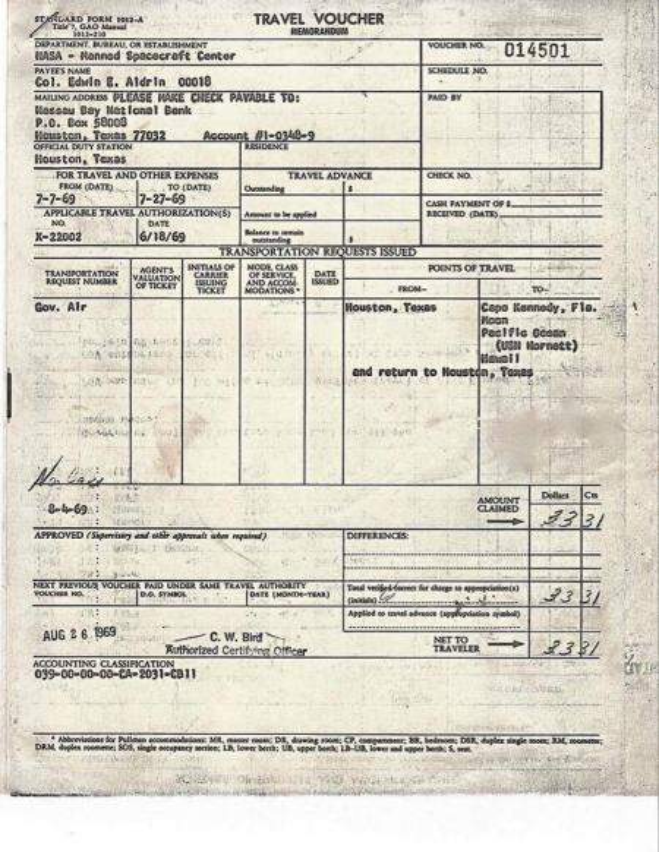 Buzz Aldrin expenses