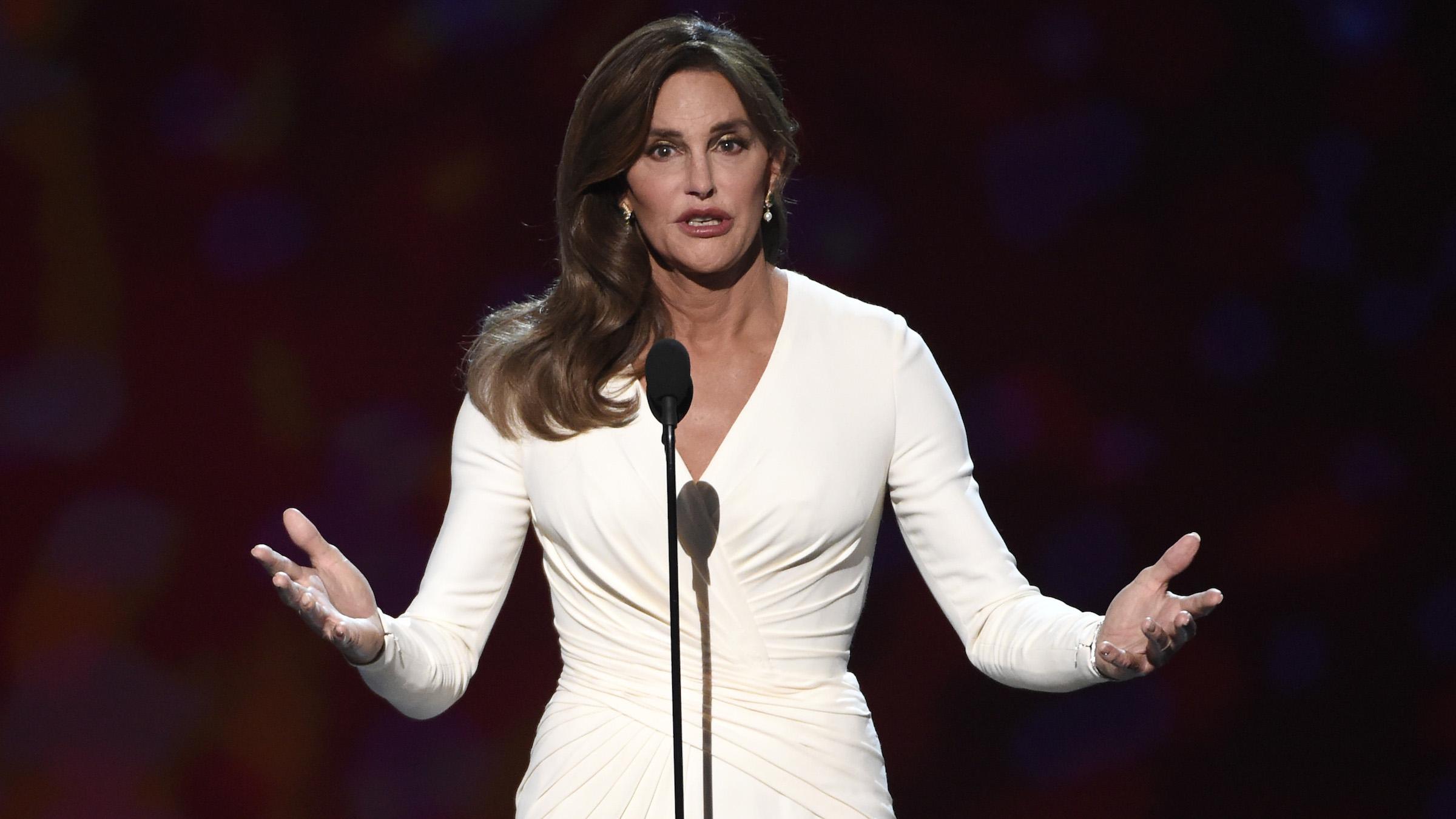 Caitlyn Jenner accepts the Arthur Ashe award