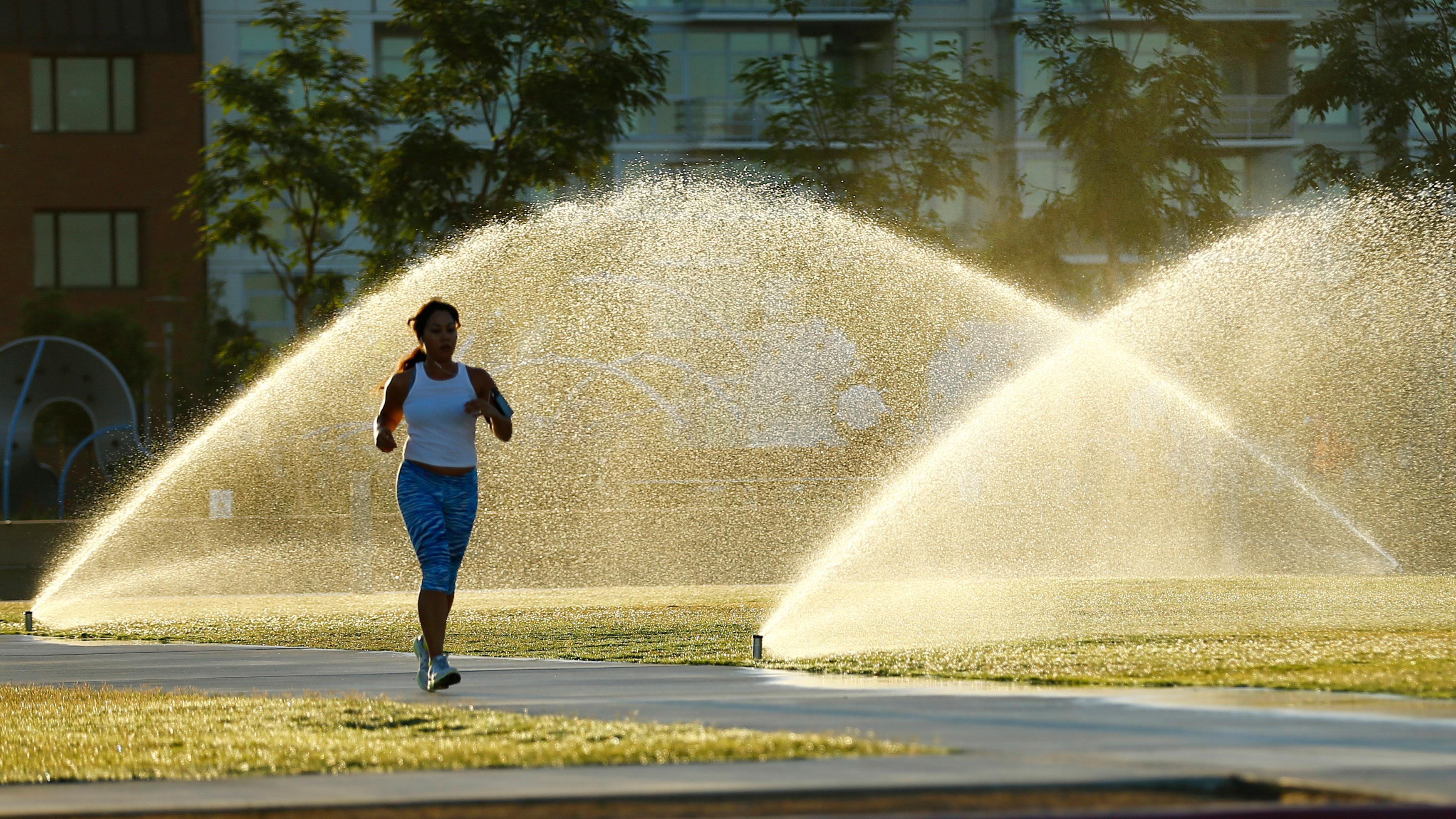 Sprinklers spray water onto grass as a jogger runs through a city park in San Diego, California