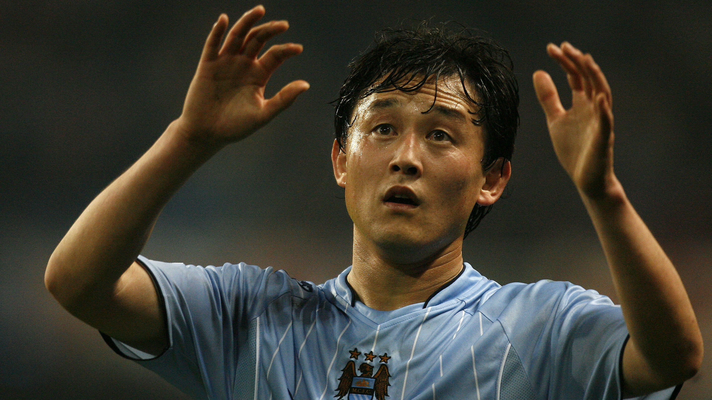Manchester City's Sun Jihai gestures during their English Premier League soccer match against Sunderland at the City of Manchester Stadium in Manchester, northern England, November 5, 2007.