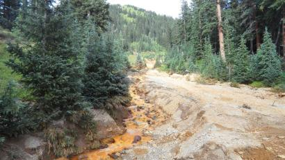 Yellow mine waste water from the Gold King Mine is seen in San Juan County, Colorado, in this picture released by the Environmental Protection Agency (EPA) taken August 7, 2015.