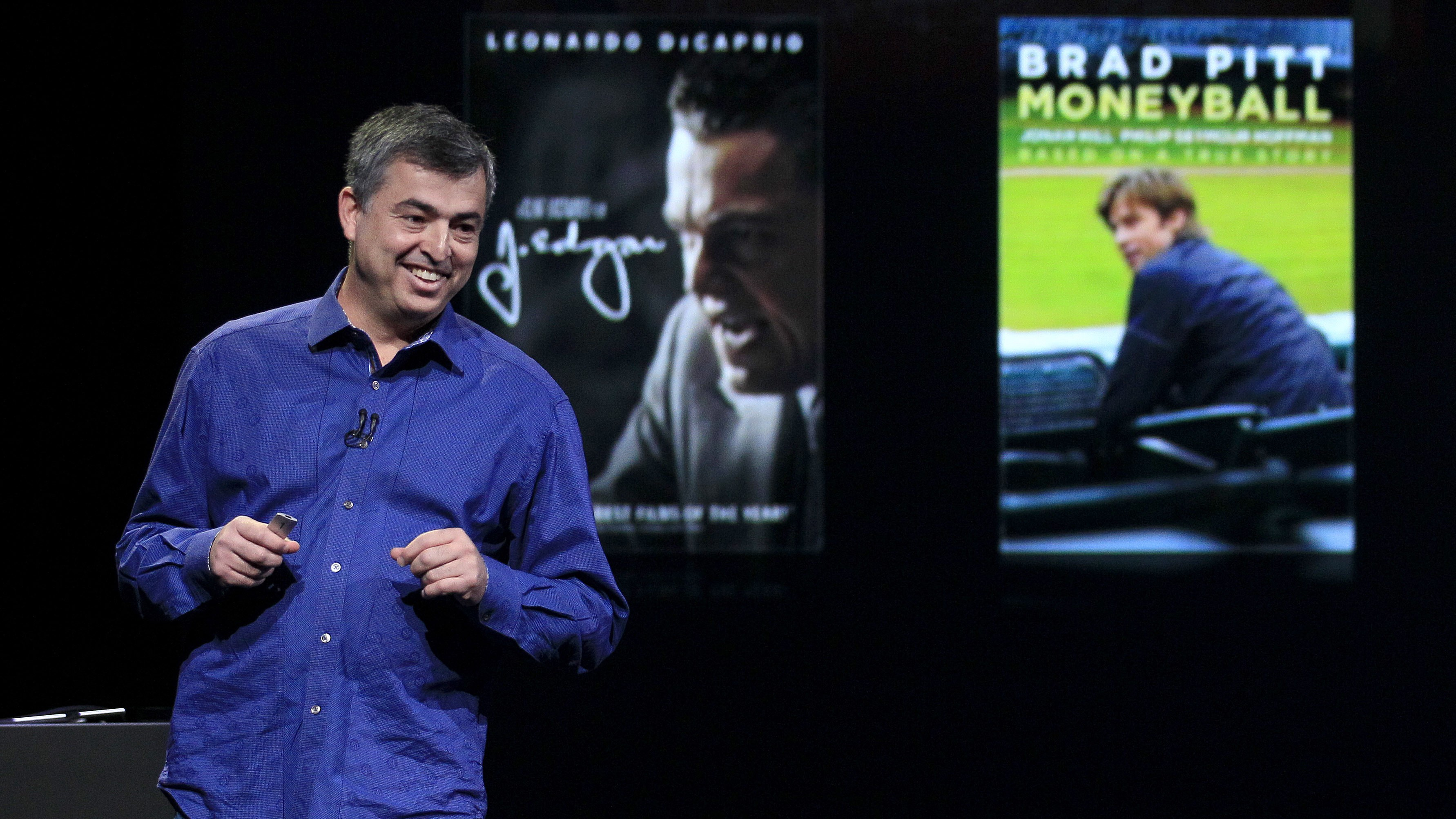 Eddy Cue, Apple's senior vice president of Internet Software and Services, speaks at an Apple event in San Francisco, Wednesday, March 7, 2012. (AP Photo/Jeff Chiu)