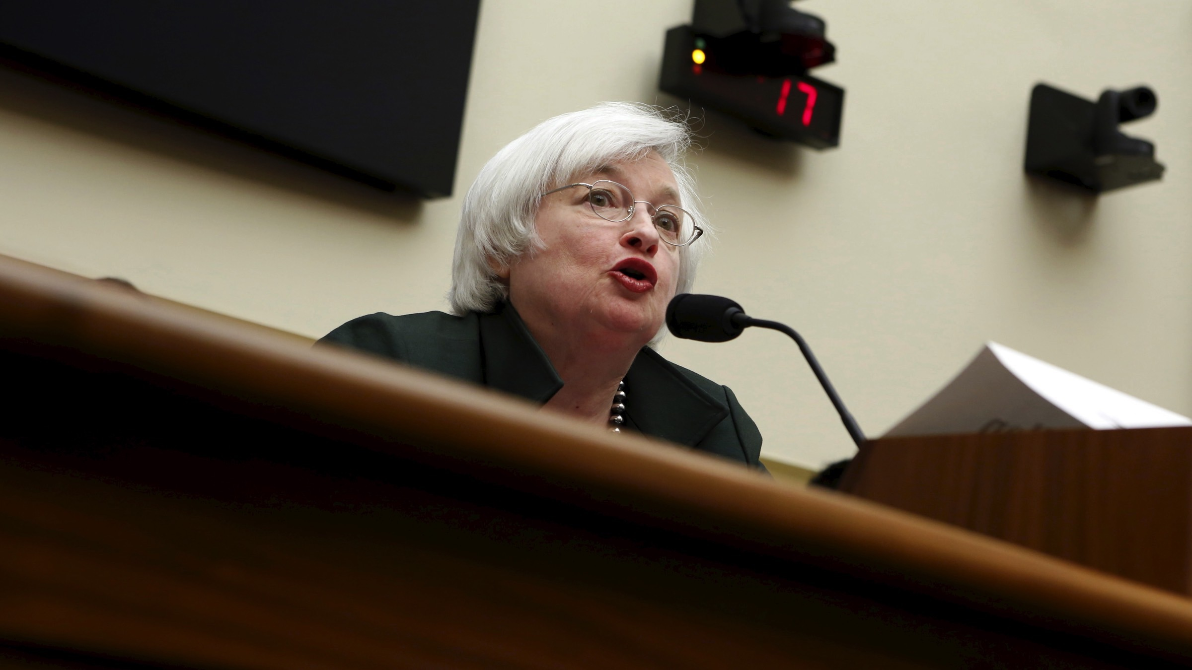 Federal Reserve Board Chairwoman Janet Yellen testifies before a House Financial Services committee hearing