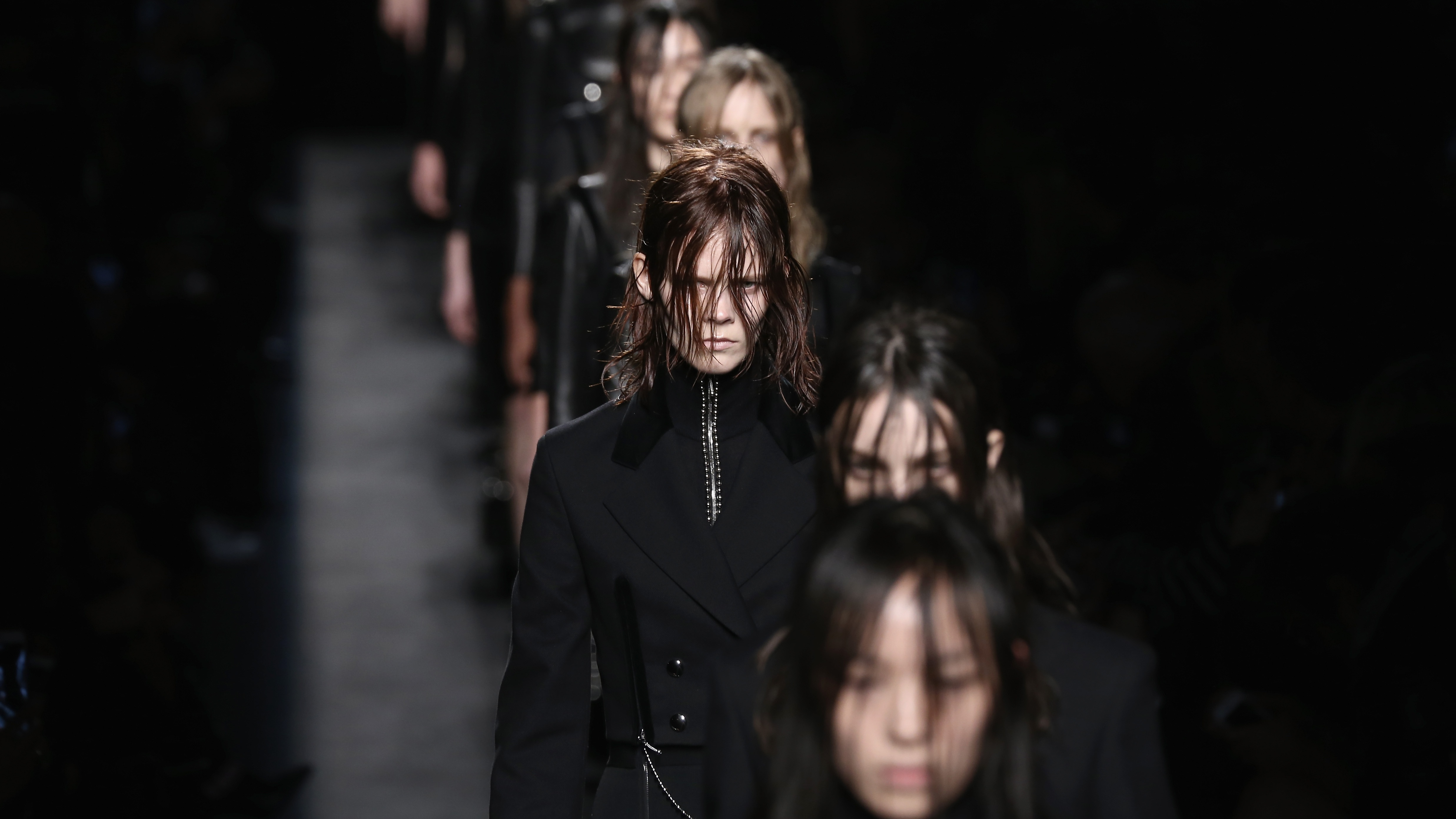 Models walk the runway at the Alexander Wang fashion show during Mercedes-Benz Fashion Week Fall 2015 at Pier 94 on February 14, 2015 in New York City.