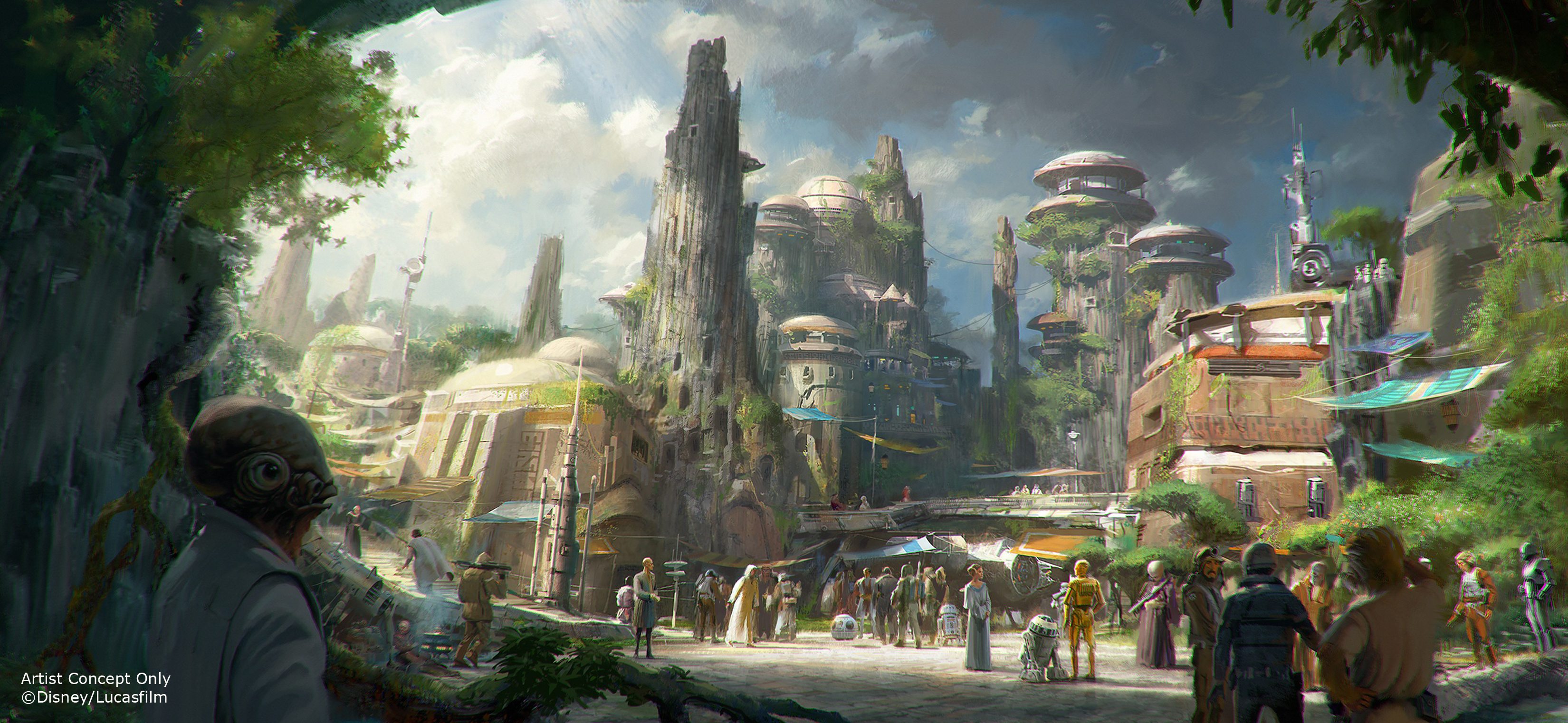 Handout image provided by Disney Parks, Walt Disney Company Chairman and CEO Bob Iger announced at D23 EXPO 2015 that Star Wars-themed lands will be coming to Disneyland park in Anaheim, California and Disney's Hollywood Studios in Orlando, Florida, creating Disney's largest single-themed land expansions ever at 14-acres each. The attractions will transport guests to a never-before-seen planet, a remote trading port and one of the last stops before wild space where Star Wars characters and their stories come to life.  These authentic lands will have two signature attractions including the ability to take the controls of one of the most recognizable ships in the galaxy, the Millennium Falcon, on a customized secret mission and an epic Star Wars adventure that puts guests in the middle of a climactic battle.