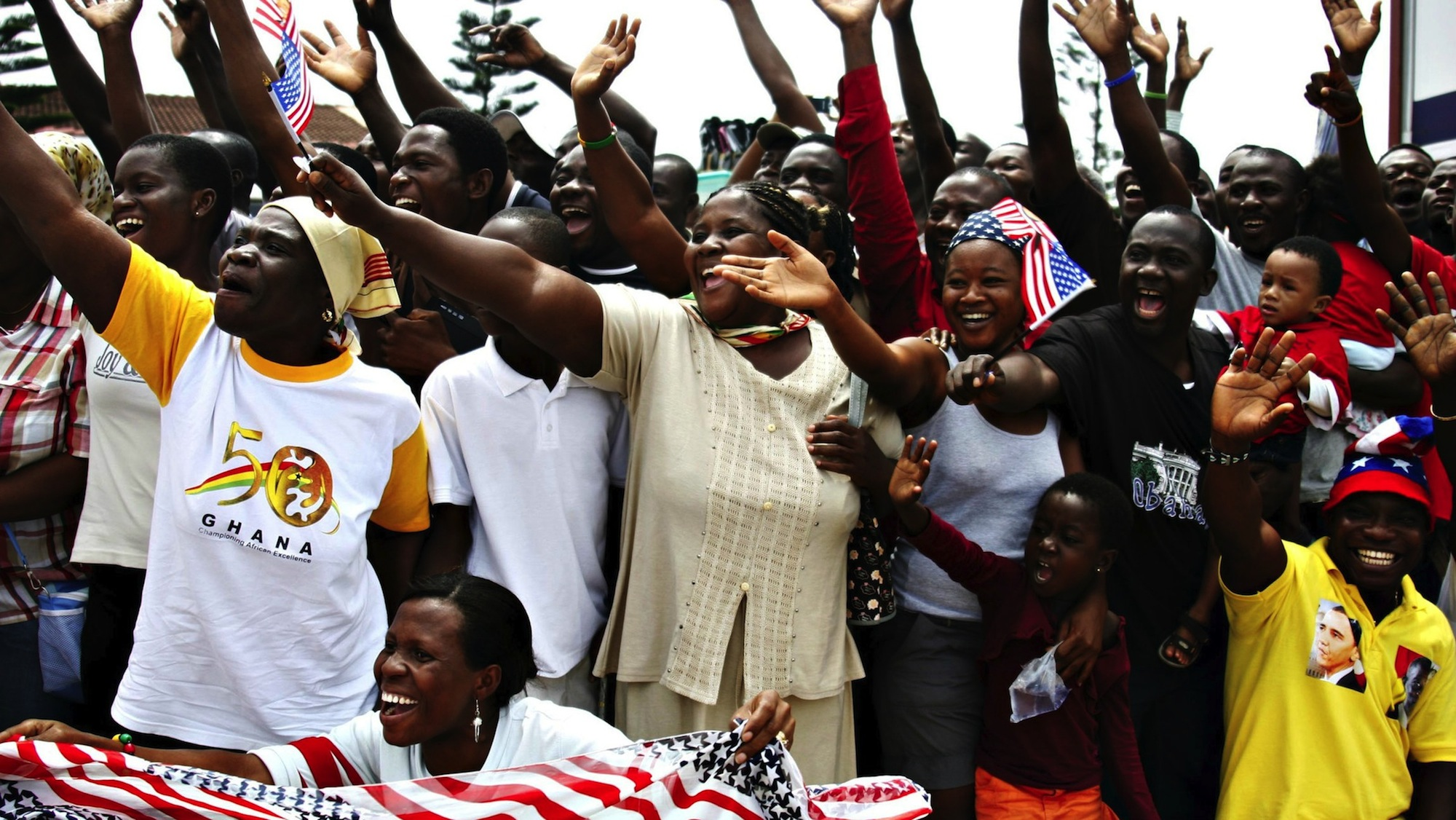Ghanaians cheer during US president Barack Obama's visit to Accra in 2009