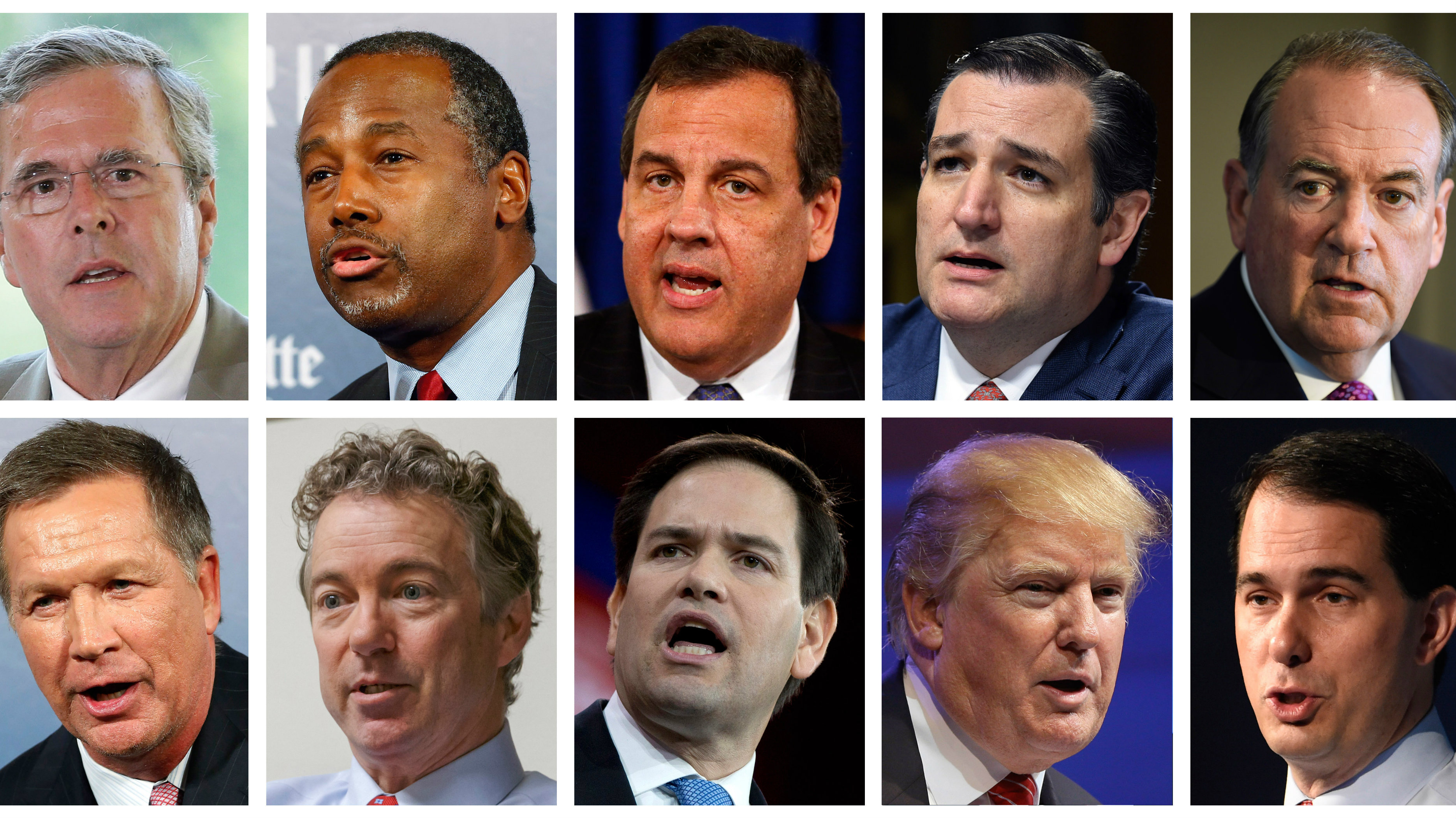 This combination of photos, from top left, shows Republican presidential candidates Jeb Bush, Ben Carson, Chris Christie, Ted Cruz, Mike Huckabee and from bottom left, John Kasich, Rand Paul, Marco Rubio, Donald Trump and Scott Walker. The candidates are scheduled to participate in a Fox News Channel Republican presidential debate on Thursday, Aug. 6, 2015. (AP Photos/File)