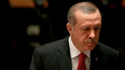 Recep Tayyip Erdogan, the President of Turkey, arrives to sit in the audience during a high-level United Nations Security Council meeting about worldwide terrorism during the 69th session of the United Nations General Assembly.