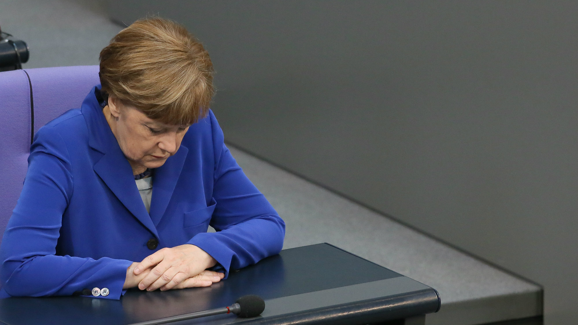 German Chancellor Angela Merkel takes part in a parliamentary session of the German Bundestag in Berlin.
