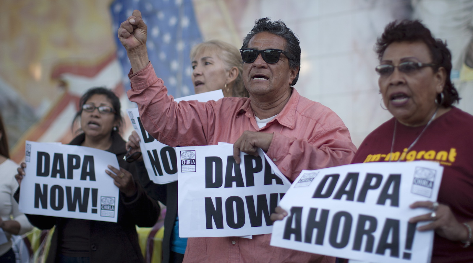 Members of the Coalition for Humane Immigrant Rights of Los Angeles hold vigil at a church in Los Angeles, California