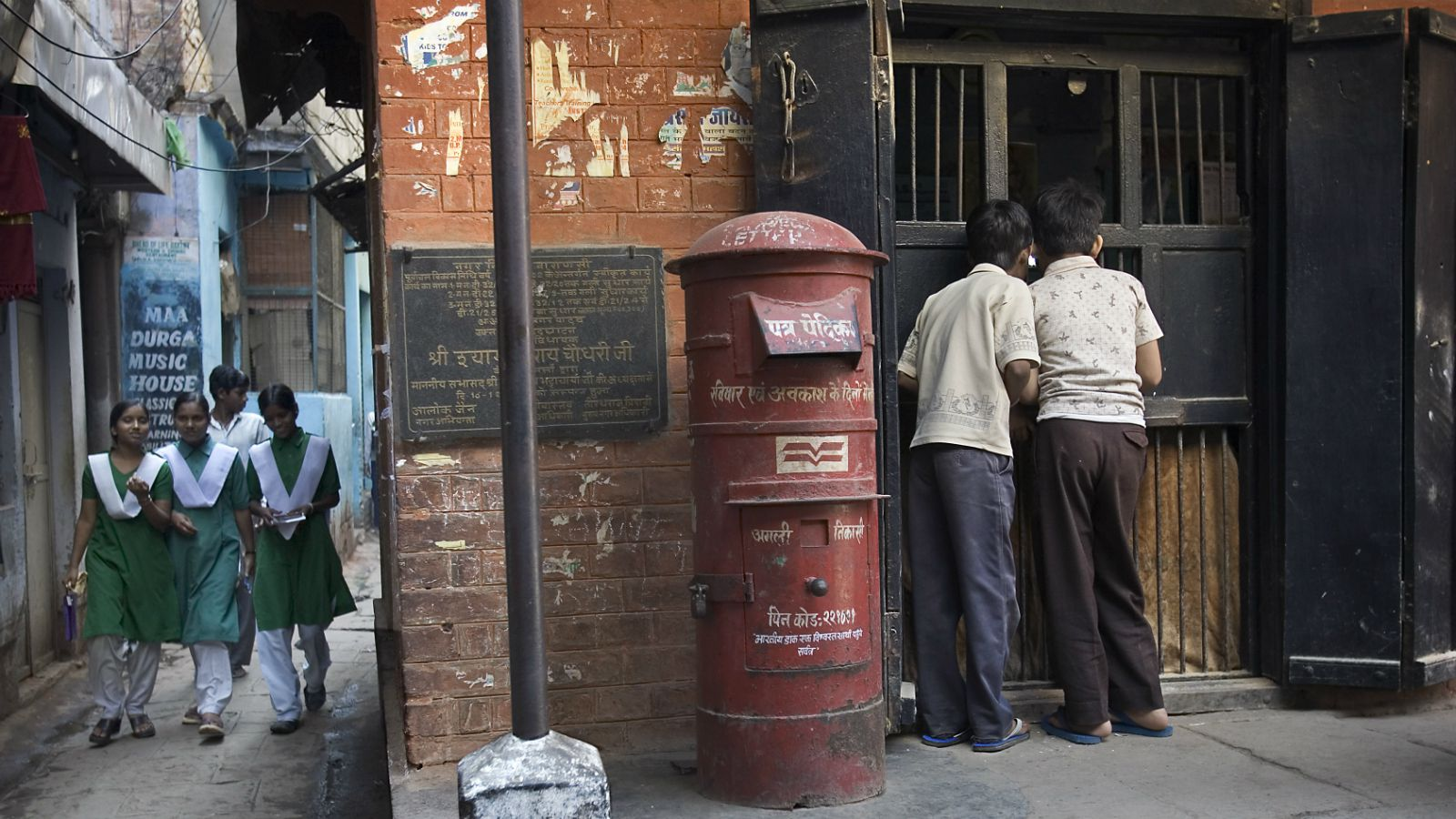 Children at a post office in Varanasi.