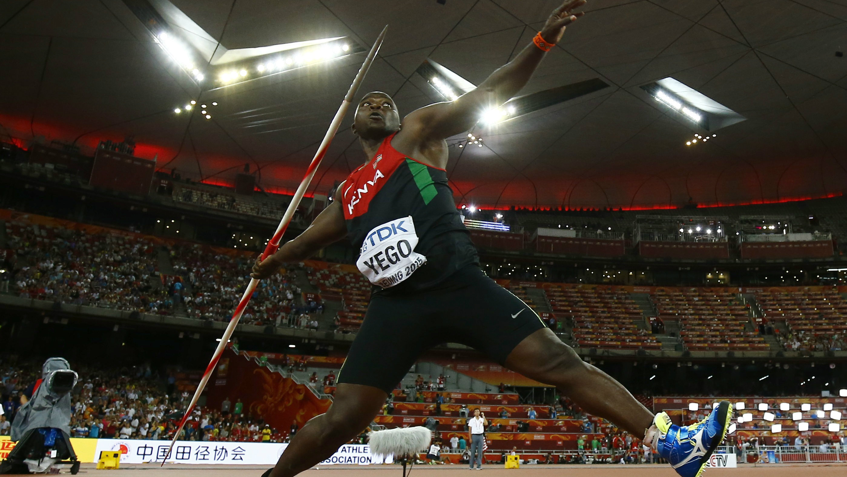 Julius Yego of Kenya competes at the men's javelin throw final during the 15th IAAF World Championships at the National Stadium in Beijing, China, August 26, 2015. REUTERS/Kai Pfaffenbach