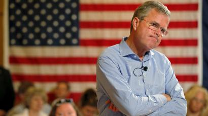 Republican presidential candidate Jeb Bush listens to a question from the audience during a town hall meeting campaign stop at the Medallion Opera House in Gorham, New Hampshire July 23, 2015.
