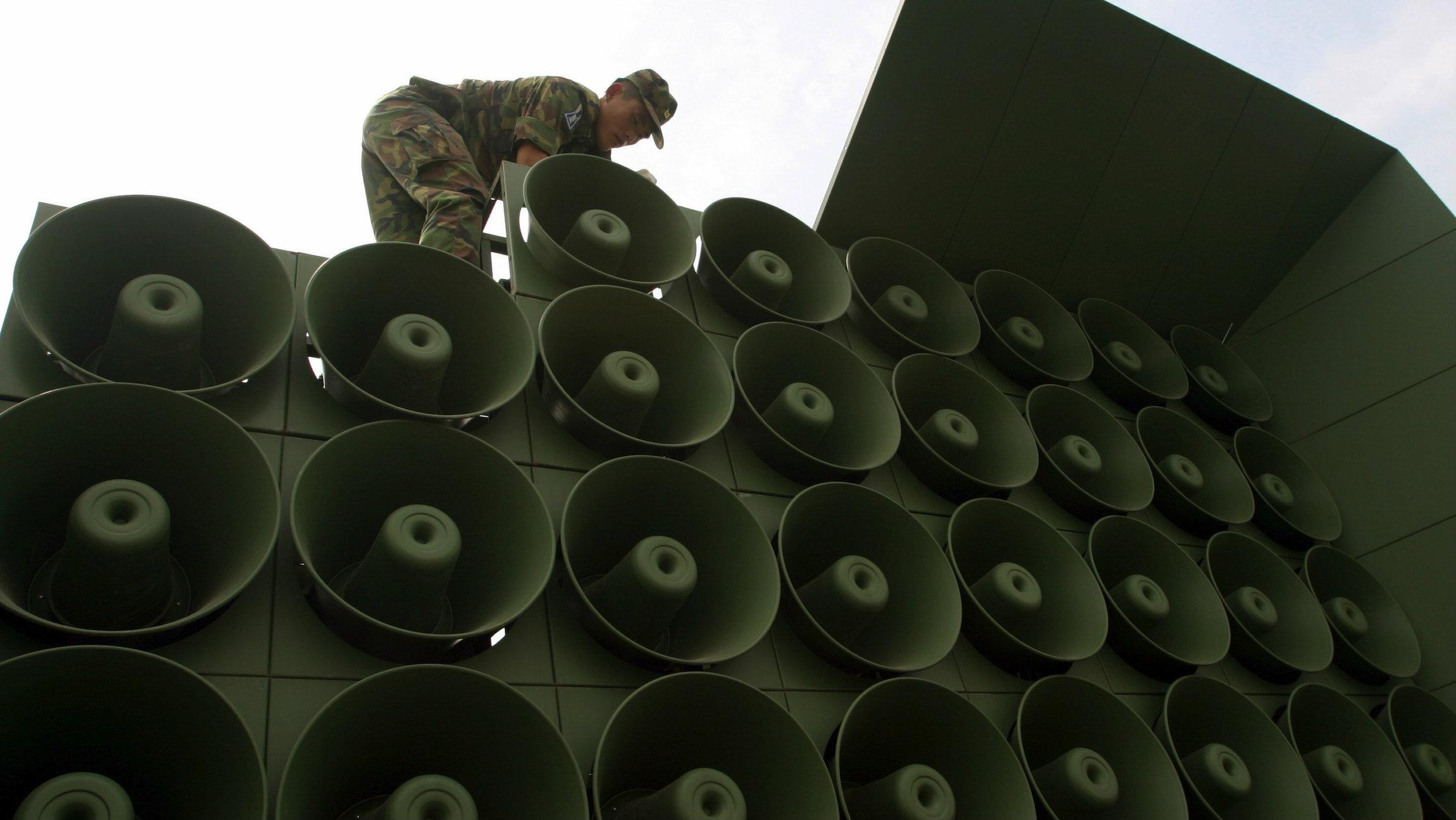 South Korea has begun using loudspeakers to broadcast anti-North Korea broadcasts.